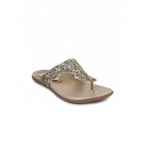 Shoetopia Women Gold-Toned Embellished Flats