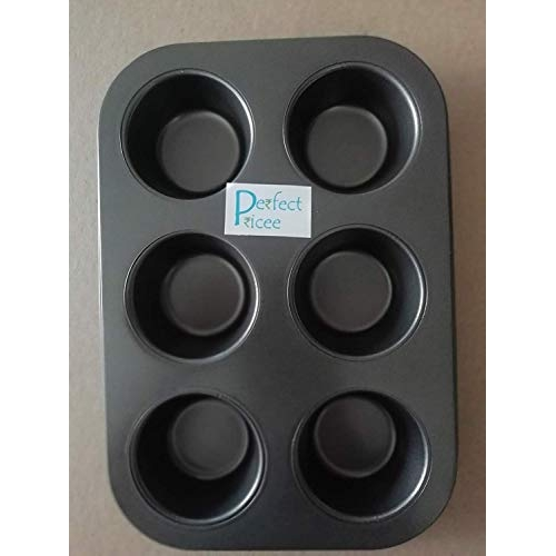 Perfect 6 Slot Black Non-Stick Muffin Tray Cupcake Pan with Set of 100 Muffin Liner Paper Cups by Perfect Pricee