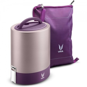 Vaya Tyffyn Jumbo 1300 ml Purple Copper-Finished Stainless Steel Tiffin Box with BagMat (One 400 ml + Three 300 ml Containers) - 4 Containers Lunch Box(1300 ml)