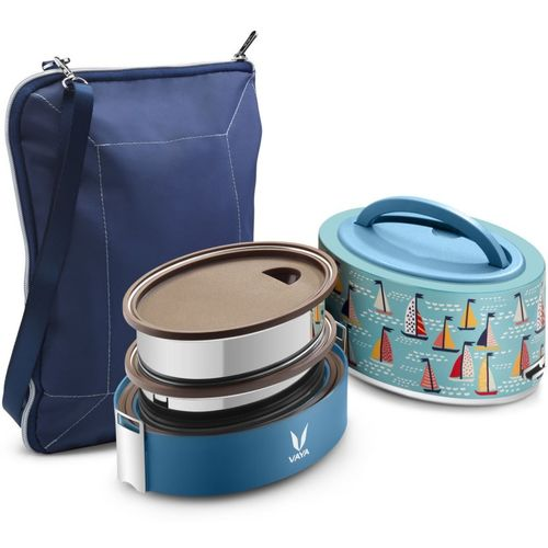 Vaya Tyffyn Lyte 600 ml Sail Polished Stainless Steel Tiffin Box with BagMat (Two 300 ml Containers) - 2 Containers Lunch Box(600 ml)