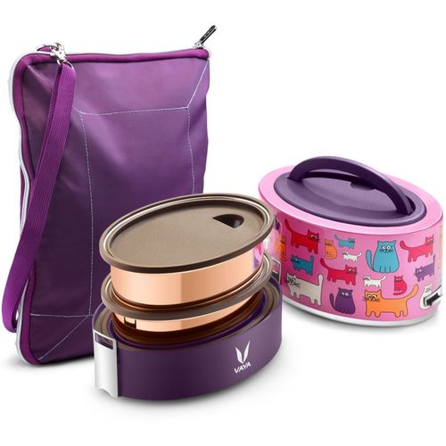 Vaya Tyffyn 600 ml Cats Copper-Finished Stainless Steel Tiffin Box with BagMat (Two 300 ml Containers) - 2 Containers Lunch Box(600 ml)