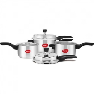 Pigeon Special Combi Pack 2 L, 3 L, 5 L Induction Bottom Pressure Cooker & Pressure Pan(Stainless Steel)