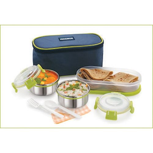 Magnus AVANZA Green stainless steel Clip lock containers with spoon 3 Containers Lunch Box(900 ml)