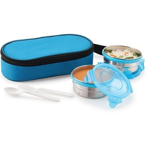 Magnus 2 Airtight Stainless Steel 2 Container Tiffin Box, Blue, 560 ml 2 Containers Lunch Box(560 ml)