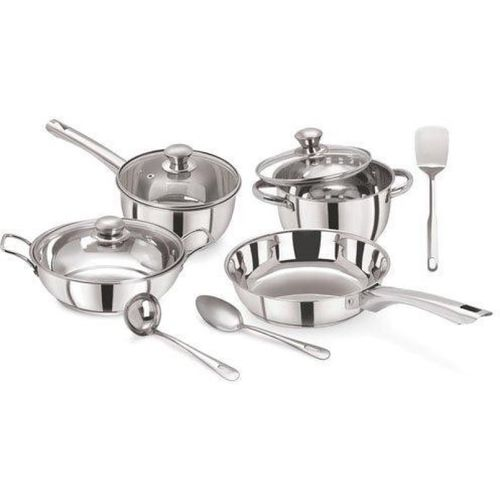 PRISTINE Tri Ply Bottom Induction Bottom Cookware Set(Stainless Steel, 10 - Piece)