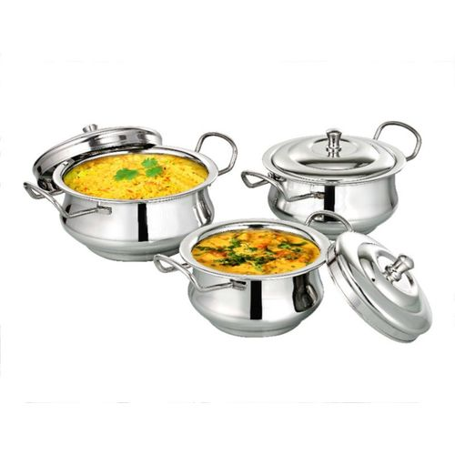 bartan hub Rayal Handi Set With Lid Cookware Set(Stainless Steel, 3 - Piece)