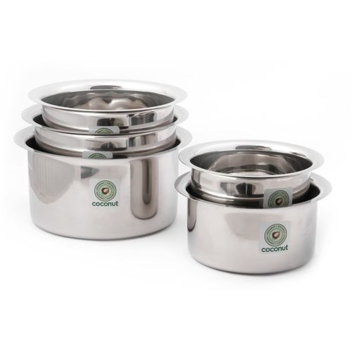 Coconut Tope Induction Bottom Cookware Set(Stainless Steel, 5 - Piece)