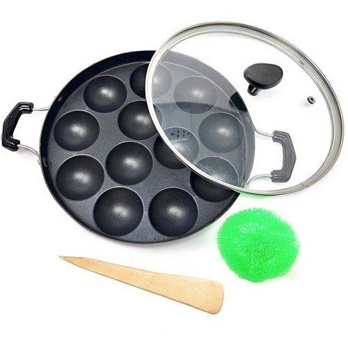 MOWEAR Kumkum Appam Maker with glass Lid Paniyarakkal with Lid(Aluminium, Non-stick, Induction Bottom)