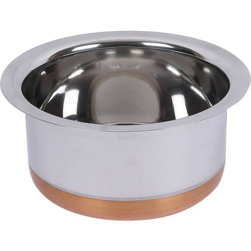 LiMETRO High Grade Steel 2 Ltr Patila/Handi/ Bhagona/Tope with Copper Bottom Tope(Stainless Steel)