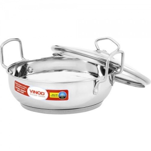 Vinod Cookware Induction Base Stainless Steel Kadai with Lid, 26 cm, 4 Ltr Kadhai 26 cm with Lid(Stainless Steel, Induction Bottom)