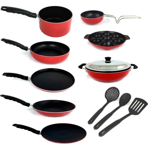 KUMAKA KUMAKA Premium Quality Gas-Compatible Non-Stick 12 pieces Cookware Set - RED Cookware Set(PTFE (Non-stick), Aluminium, 12 - Piece)