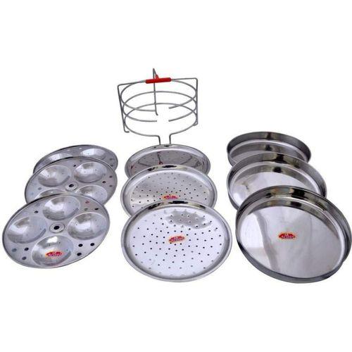 Aristo Stainless Steel 3 Plates Idli, 3 Plates Patra, 3 Plates Dhokla & Multi Purpose Stand Standard Idli Maker(9 Plates , 12 Idlis )