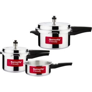 Butterfly Silver Aluminium Friendly 2 L, 3 L, 5 L Induction Bottom Pressure Cooker
