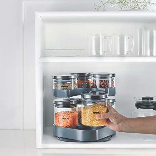 Borosil Classic Jar Set of 7 (with Rotating Tray)