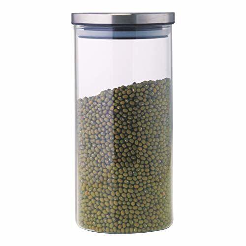 Borosil Classic Glass Jar with Lid, 1.2 litres, Transparent