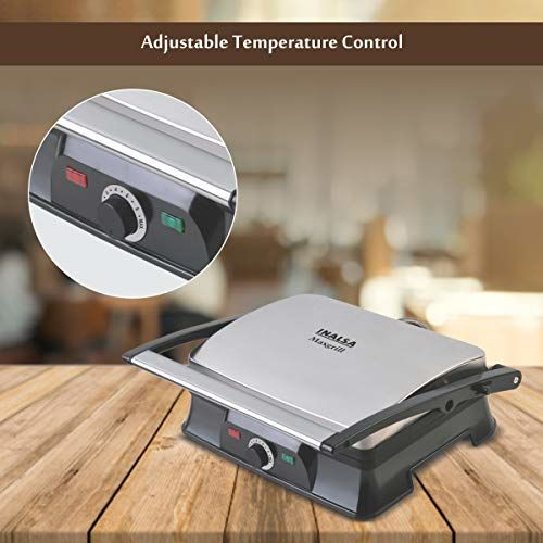 Inalsa Super Jumbo Max-grill Sandwich Toaster/Contact Grill | With Temperature Controller and LED indicator | Non-stick coated plates | Cool touch sliding