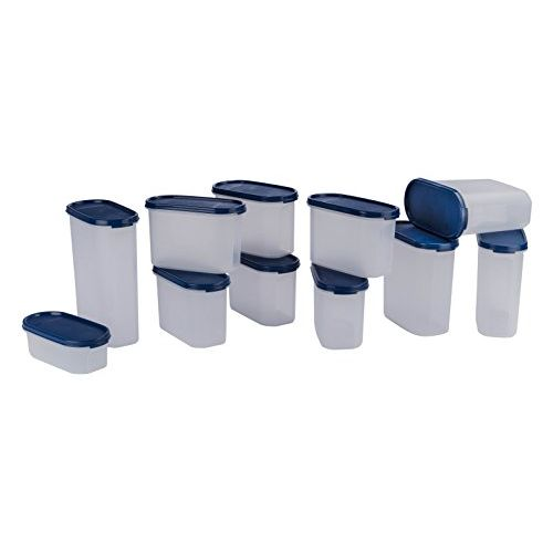 Signoraware Stackable Modular Oval Plastic Container Set, Set of 11, Blue