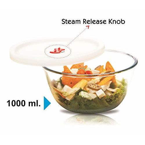 Signoraware Mixing BowlHigh Borosilicate Glass with LID, 1000ml, 1 Piece, Transparent