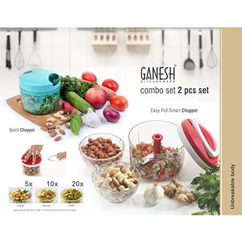 Ganesh Plastic Chopper Set, 2-Piece, Multicolour