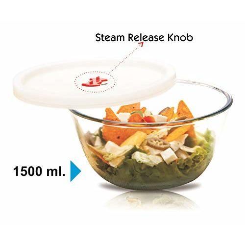 Signoraware Mixing BowlHigh Borosilicate Glass with LID, 1500ml, 1 Piece, Transparent