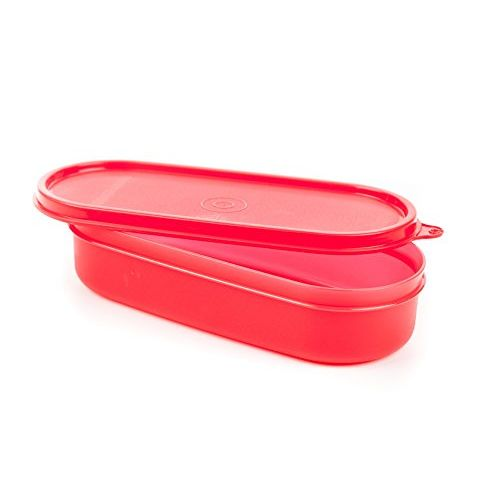 Signoraware Flat Oval Plastic Container, 500ml/80mm, Red