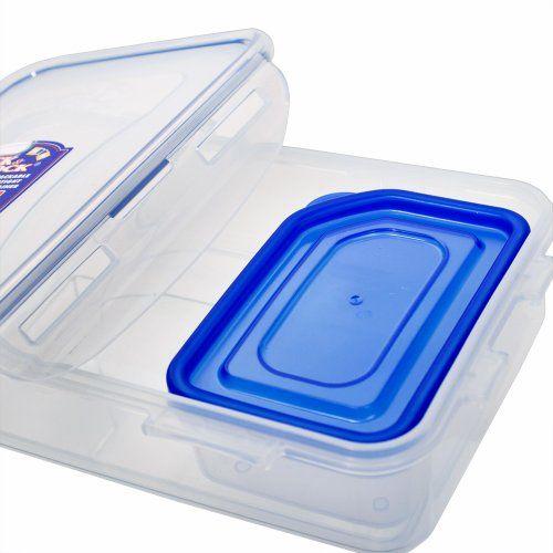 Lock & Lock Lock&Lock Classics Rectangular Food Container with Sauce Container and Leak Proof Locking Lid, 800ml