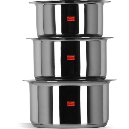 Sumeet 3 Pcs Stainless Steel Induction Bottom (Encapsulated Bottom) Induction & Gas Stove Friendly Container Set / Tope / Cookware Set With Lids Size No.10 to
