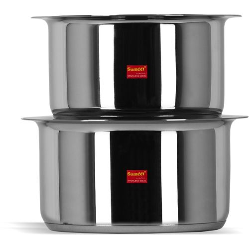 Sumeet 2 Pcs Stainless Steel Induction Bottom (Encapsulated Bottom) Induction & Gas Stove Friendly Container Set / Tope / Cookware Set With Lids Size No.13 &
