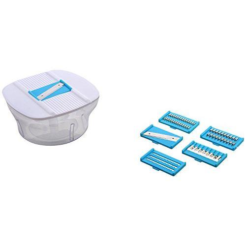 Floraware Plastic Manual Food Processor Set, 14-Pieces, Blue