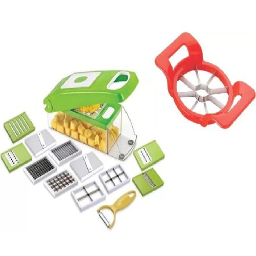 VIVAAN Vegetable & Fruits 13 Cutter Blades ( 12 IN 1 Chopper + 1 Apple Cutter Vegetable & Fruit Chopper(12 +1 vegetable & Fruit Chopper)