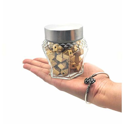 Satyam Kraft (Pack of 2) Crown Shape Glass Jar and Container (250 ml) with Rust Proof Air Tight Lid