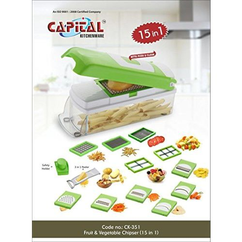 Capital Kitchenware Muac 15 in 1 Multi-Purpose Fruit and Vegetable Chipser, Dicer, Peeler, Cutter, Chopper and Grater (Colour May Vary)