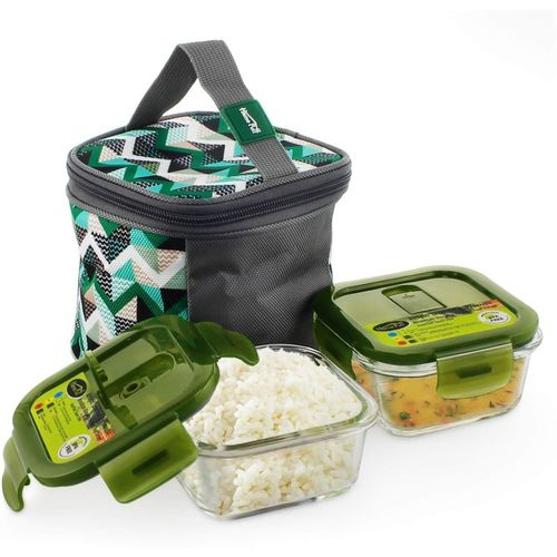Home Puff H25 Borosilicate Glass, Microwavable, AirVent Lid with Premium Carry Bag 2 Containers Lunch Box(640 ml)
