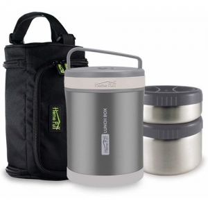 Home Puff Double Wall Vacuum Insulated Stainless Steel 2 Containers Lunch Box(1300 ml)