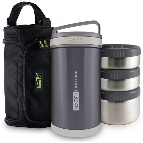 Home Puff Double Wall Vacuum Insulated Food Containers with Easy Carrying Bag & Leak Proof 3 Containers Lunch Box(1700 ml)