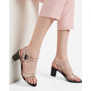AJIO Chunky Heels with Clear Straps
