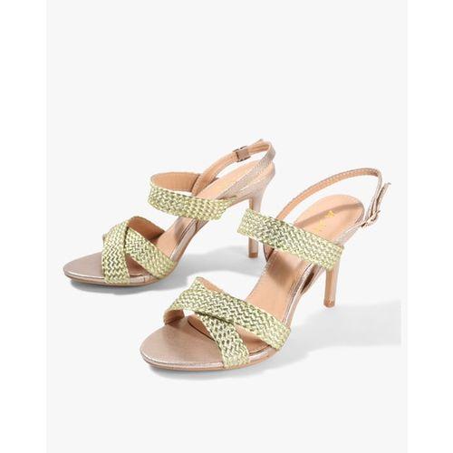 AJIO Textured Heeled Sandals with Criss-Cross Straps