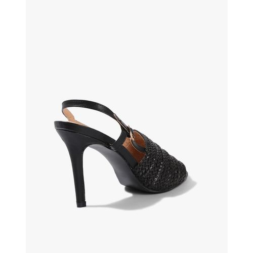 AJIO Textured Heeled Sandals with Sling-Back Strap