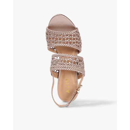 AJIO Braided Heeled Sandals with Sling-Back Strap