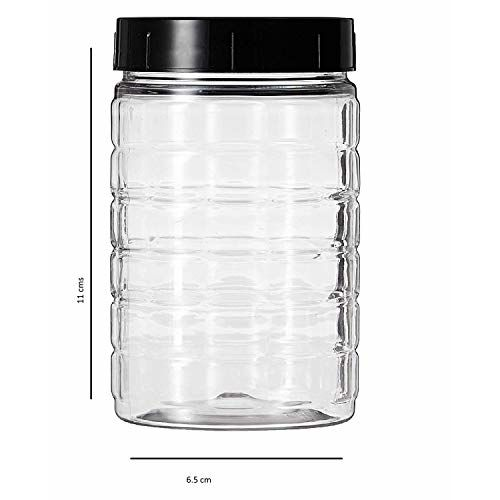 Amazon Brand - Solimo Spice Jar, 200 ml, Set of 8, Black