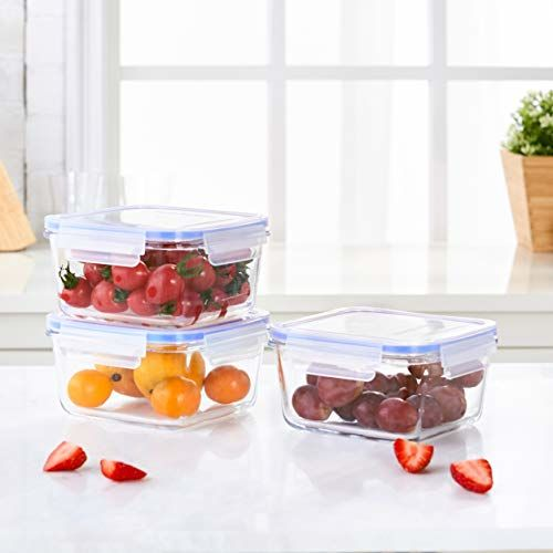 Amazon Brand - Solimo Square Glass Container Set,