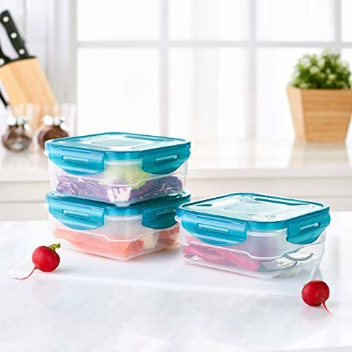 Amazon Brand - Solimo Plastic Food Storage Container Set, (3 pieces, 800ml)