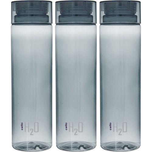 Cello H20 Unbreakable Fridge Water Bottle 1000 ml Bottle(Pack of 3, Black)