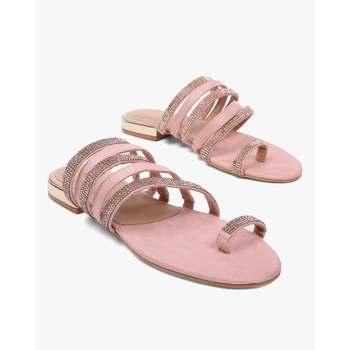 AJIO Strappy Embellished Flat Sandals