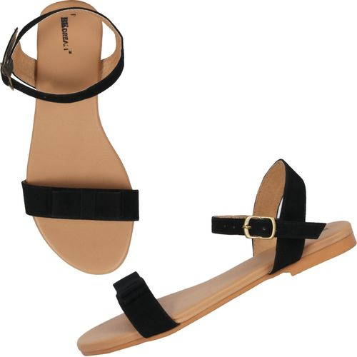 BK DREAM  Black  Synthetic Flats Sandal