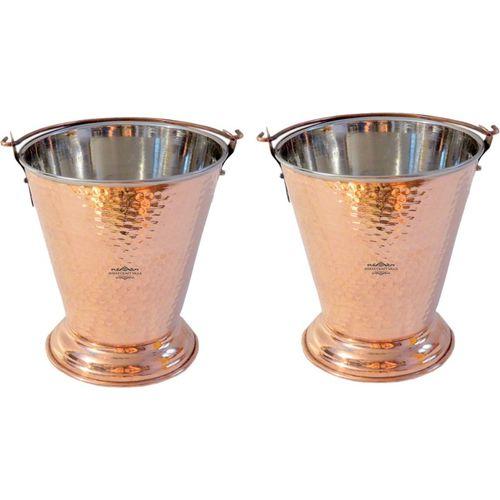 Nirvana Craft Villa Handmade Traditional Copper Steel Bucket Volume 300 ML for a Vegetable Dish serving Restaurant Ware Hotel Ware Home Gift Item Handi 0.3