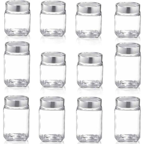 Treo - 580 ml, 800 ml Glass Grocery Container(Pack of 12, Clear)