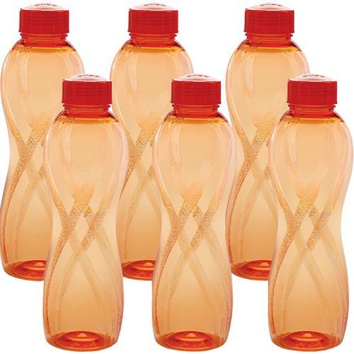 Cello Twisty 1000 ml Bottle(Pack of 6, Orange)
