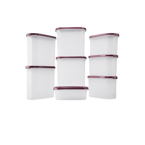 Signoraware - 2300 ml, 1700 ml, 1700 ml, 1700 ml, 1100 ml, 1100 ml, 1100 ml, 500 ml Plastic Grocery Container(Pack of 8, Maroon)