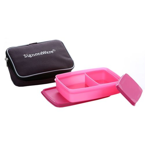 Signoraware Compact Lunch Box (Small) With Bag - 600 ml, 150 ml Plastic Food Storage(Pack of 2, Pink)